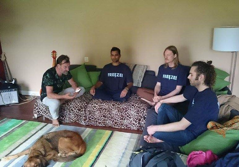 At 26 time world record holder Wim Hofs home in the Netherlands with John and fellow consciousness explorer Niraj Naik